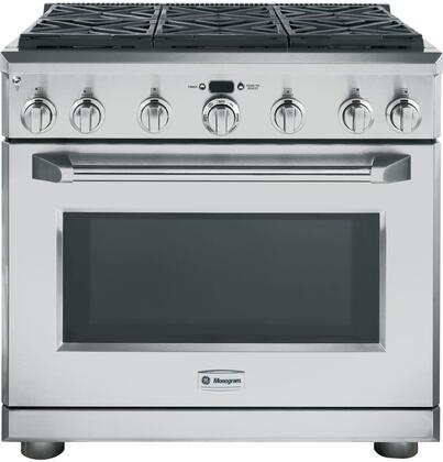 "GE Monogram ZDP366LPSS 36"" Dual Fuel Freestanding Range with 6 Sealed Burner Cooktop 5.75 cu. ft. Primary Oven Capacity 