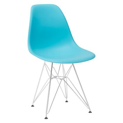 "EdgeMod Padget Collection 21.5"" Side Chair with Chrome Wire Base, Non-Marking Feet, Matte Plastic Seat and Polypropylene Plastic in"