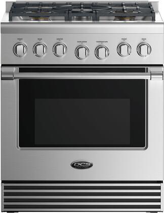 """DCS RGV2305 30"""" Freestanding Gas Range with 5 Sealed Dual Flow Burners, 4.6 Cu. Ft. Oven Capacity, 5 Shelf Positions, Flat Vent Trim, and 3 Oven Functions: Stainless Steel"""