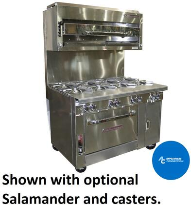 "Southbend P48A Platinum Series 48"" Sectional Open-Top Range with Convection Oven Base and Eight Standatd Non-Clogging Burners, Up to 280000 BTUs (NG/LP)"