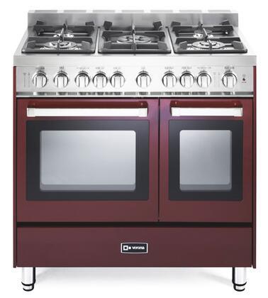 "Verona VEFSGG365NDBU 36"" Gas Freestanding Range with Sealed Burner Cooktop, 2.4 cu. ft. Primary Oven Capacity, Storage in Burgundy"