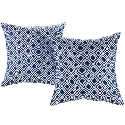Modway Modway Collection 2 PC Outdoor Patio Pillow Set with Weather Resistant Polyester Weave, Plush Fiber Filling and Inspiring Patterns in