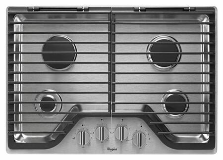 "Whirlpool WCG75US0DS 30"" Gas Sealed Burner Style Cooktop, in Stainless Steel"