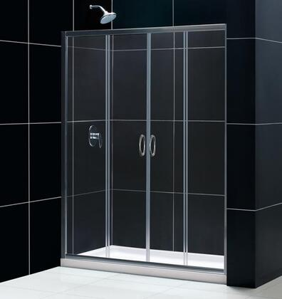 DreamLine DL-611 Visions Frameless Sliding Shower Door with Single Threshold Shower Base and QWALL-5 Shower Backwalls Kit