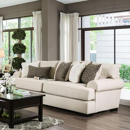 "Furniture of America Gilda Collection SM127X-SF 96"" Sofa with Premium Fabric, 2.5"" Memory Foam Cushion Layer, T-Cushion Seating and Rolled Arms in"