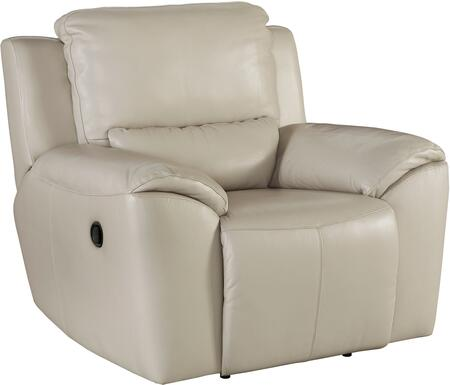 Signature Design by Ashley Valeton U73500REC Leather Match Zero Wall Recliner with Plush Padded Arms, Jumbo Stitching Details and Split Back Cushion in Cream Color