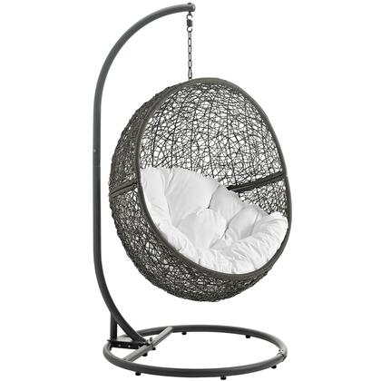 """Modway Hide Collection EEI-2273- 40"""" Outdoor Patio Swing Chair with Powder-Coated Steel Frame, Synthetic Rattan Weave and Washable Polyester Cushion in"""