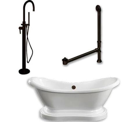 "Cambridge ADESPED150PKG Acrylic Double Ended Pedestal Slipper Bathtub 68"" x 28"" with No Faucet Drillings and Complete Plumbing Package"