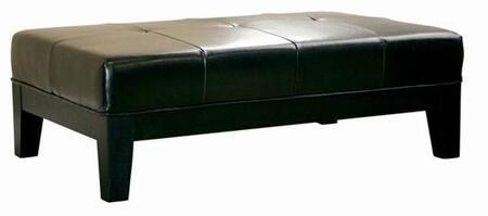 Wholesale Interiors Y193023BLACK Rinaldo Series Contemporary Leather Ottoman