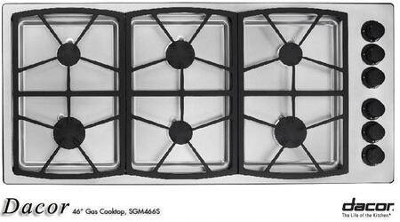 Dacor SGM466SH  Natural Gas Sealed Burner Style Cooktop