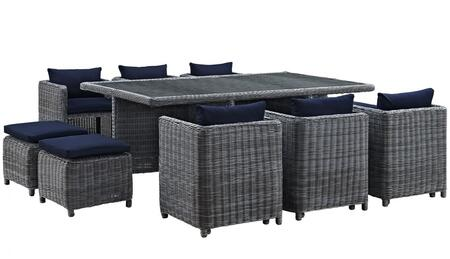 Modway Summon Collection EEI-1953-GRY- 11-Piece Outdoor Patio Sunbrella Dining Set with 4 Stools, Table and 6 Chairs in