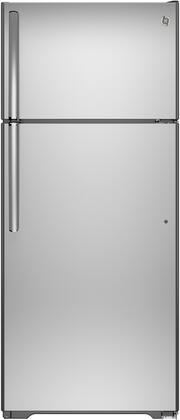 "GE GAS18PSJx 28"" Freestanding Top Freezer Refrigerator With 17.5 cu. ft. Total Capacity, Frost Free, Upfront Temperature Controls, Autofill Pitcher, And Gallon Storage"