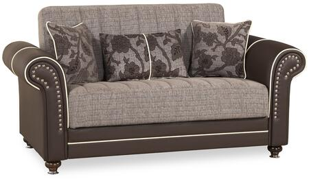 """Casamode Royal Home Collection ROYAL HOME LOVE SEAT 69"""" Convertible Love Seat with Rolled Arms, Nail Head Trim, Turned Bun Feet and Under Seat Storage in"""