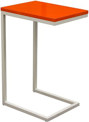 "Diamond Sofa Edge EDGEST 12"" Accent Table with Medium-Density Fiberboard (MDF) High Gloss Top and Sleek Metal Frame in"
