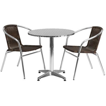 Flash Furniture TLH-ALUM-28RD-020CHR-GG 27.5'' Round Aluminum Indoor-Outdoor Table with Rattan Chairs