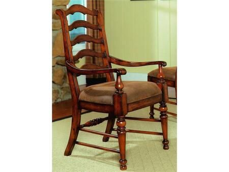 "Hooker Furniture Waverly Place Series 366-75-4 42.625"" Traditional-Style Dining Room Ladderback Chair with Turned Legs, Stretchers and Fabric Upholstery in Brown (Sold in 2 Chairs per Order/Priced Individually)"