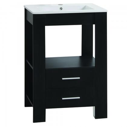 "Yosemite YVEC-480 24"" Single Vanity with Ceramic Top, Single Faucet Hole, ceramic Basin, 2 Smooth Sliding Drawers and a Shelf"