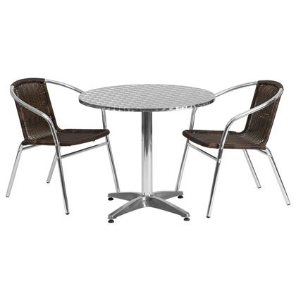 Flash Furniture TLH-ALUM-32RD-020CHR-GG 31.5'' Round Aluminum Indoor-Outdoor Table with Rattan Chairs