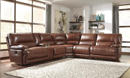 Signature Design by Ashley Kalel U74900SEC6PC Sectional Sofa with Left Arm Facing Zero Wall Recliner, Storage Console, Armless Recliner, Wedge, Armless Chair and Right Arm Facing Zero Wall Recliner in Saddle Color