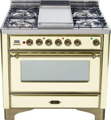 """Ilve Majestic Series UM906MPY 36"""" Dual Fuel Range Crafted in Italy, 6 Burners with Triple Ring and Simmer Burners, 2.8 cu. ft. Convection Oven, Warming Drawer, Rotisserie & Oiled Bronze Trim in"""