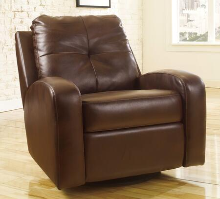 Milo Italia Adrien MI-9761TMP Swivel Glider Recliner with Curved Track Arms, Stitching Details, Soft Tufted Back Cushion and Metal Drop-In Unitized Seat Box in