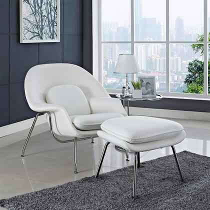 Modway EEI113WHI Womb Series Armchair Fabric Metal Frame Accent Chair