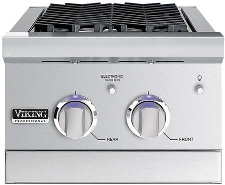 """Viking VGSB5153 Professional Outdoor Series 15"""" Wide Double Side Burners with 15,000 BTUs Each, Blue LED Illumination Controls, Electronic Ignition, and Grease Management, in Stainless Steel"""