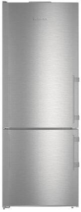 """Liebherr CS16 30"""" Energy Star Rated Freestanding Bottom Freezer Refrigerator with IceMaker, 15.9 cu. ft. Total Capacity, DuoCooling, and 3 Glass Refrigerator Shelves, in Stainless Steel"""