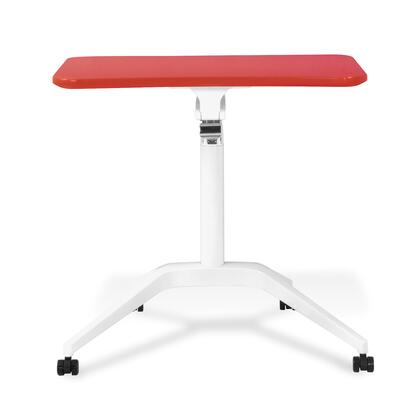 """Unique Furniture 200 Collection 28"""" - 41"""" Workpad Stand Up Desk with Adjustable Height, Casters, Lacquered Aluminum Base, Vacuumed Sealed MDF and Ergonomic Curved Top in"""
