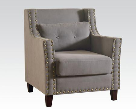 "Acme Furniture Cibil 32"" Accent Chair with Pillow Included, Nail Head Trim, Wooden Tapered Legs, Loose Seat Cushion and Fabric Upholstery in"