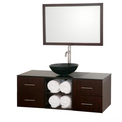 "Wyndham Collection WCSB90048ES 48"" Single Wall Mount Vanity with 4 Soft-Close Doors, Open Storage, Brushed Nickel Hardware, and Matching Mirror in Espresso Finish"