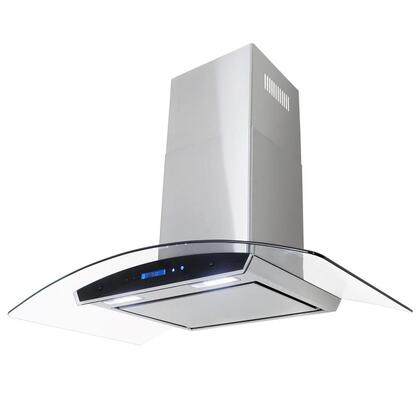 """Golden Vantage GWRKZ436P 36"""" Wall Mount Range Hood with 760 CFM, 65 dB, Innovative Touch, 1.5W LED Lighting, 4 Fan Speed, Aluminum Grease Filter and X: Stainless Steel"""