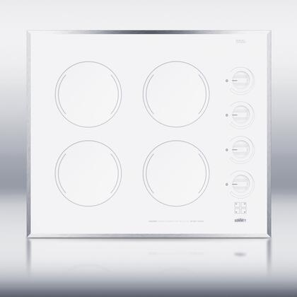 """Summit CR424 24"""" Smoothtop Electric Cooktop With 4 1200W Burners, Push To Turn Conrols, Push To Turn Knobs, Stainless Steel Trim, Schott Ceran Surface, E.G.O. Burners, In"""