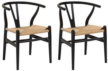 EdgeMod EM109BLKX2 Weave Series  Wood Frame Dining Room Chair