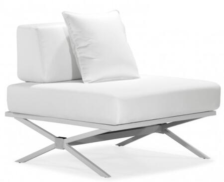 Zuo 500183 Xert Series Modular Chair with Leather Frame in White