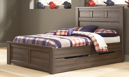 Milo Italia BR-371TRUNDLEBED Reeves Collection x Size Panel Bed with Trundle, Storage and Replicated Oak Grain in Aged Brown