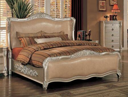 Yuan Tai BE7000 Bellevue Wood Bed with Leather in Antique Silver Finish