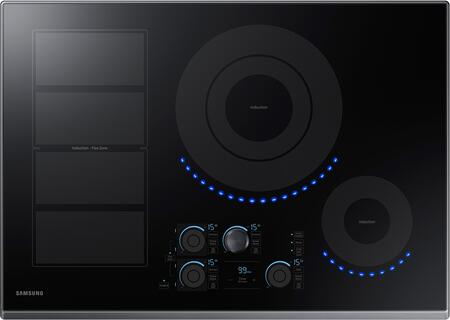 "Samsung NZ30K7880UT 30"" Induction Cooktop with Induction Flex Zone, Virtual Flame, Wifi, Magnetic Knob and Tap Touch Control, in"