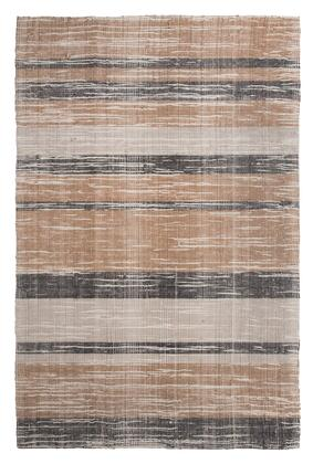 Milo Italia Dominic RG443450TM X Size Rug with Multi Striped Design, Hand-Woven, Polyester and Wool Blend Material in Brown and Grey Color