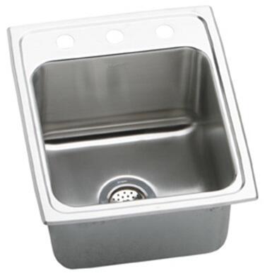 "Elkay DLR172010 Gourmet Lustertone Stainless Steel 17"" x 20"" Single Basin Kitchen Sink:"