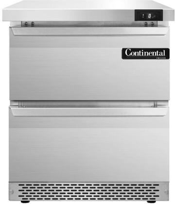 """Continental Refrigerator SWF27F 27"""" Worktop Freezer with 7.4 Cu. Ft. Capacity, Front Breathing Compressor, Aluminum Interior, Interior Hanging Thermometer, and Environmentally-Safe Refrigerant, in Stainless Steel"""