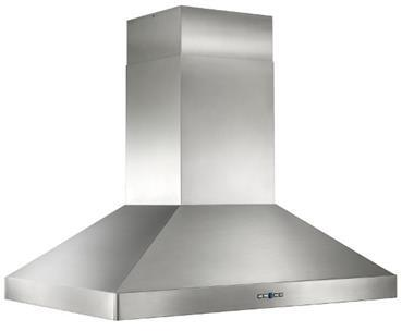 "Best IPP9 42"" Colonne Island Mount Chimney Style Hood with Heat Sentry, Mesh Lined Hi-Flow Baffle Filters, Delay Off, Filter Clean Reminder, and Halogen Lighting: Stainless Steel"