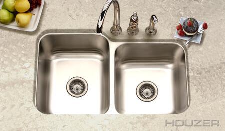 """Houzer EC-3208SX-1  Elite  31"""" undermount Stainless Steel Double Bowl with 20- Gauge Kitchen Sink:"""