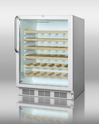 """Summit SWC6GWLCSSx 24"""" Commercially Approved Under-Counter Wine-Cellar with 5.5 cu. ft. Capacity, Factory Installed Lock, Double Pane Tempered Glass Door and Stainless Steel Cabinet, in White with"""