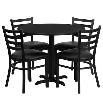 "Flash Furniture HDBF3ROU-GG 36"" Round Laminate Table Set with 4 Ladder Back Metal Chairs and Black Vinyl Seat, Commercial Design, and Heavy Duty Construction"