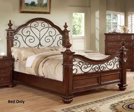 Furniture of America Landaluce CM7811X Bed with Traditional Style, Floral Metal Design Headboard and Footboard, Solid Wood and Wood Veneer in Antique Dark Oak Finish