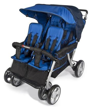 """Foundations LX Collection 4140XXX 49"""" 4-Passenger Stroller with Dual Canopy Folding, Side-by-side Design, Extra Wide Seating, Effortless Push and Heavy Duty Fabric Cover"""