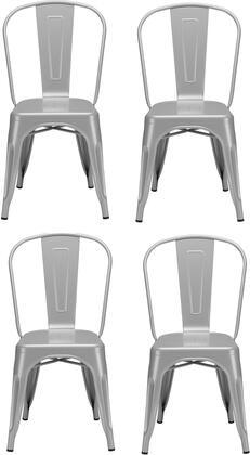 EdgeMod EM112GRY4 Trattoria Series Modern Metal Frame Dining Room Chair