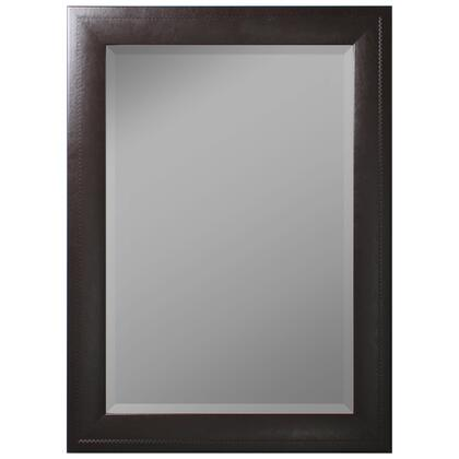 Hitchcock Butterfield 68310X Reflections Saddle Stiched Brown Leather Framed Wall Mirror