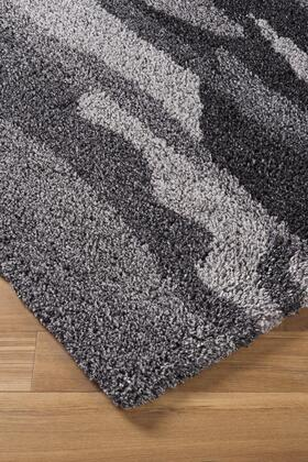 Milo Italia Walker RG449210TM X Size Rug with Abstract Stripe Design, Hand-Tufted , 25mm Pile Height, Polyester Material and Backed with Cotton Latex in Black and Grey Color